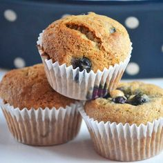 Whole Wheat Banana Blueberry Muffins @Carrie