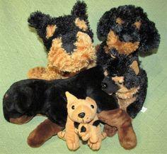 ROTTWEILER Plush Lot Puppy Dogs Black Tan German Shepherd Stuffed Animal Toys…