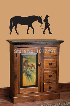 """Horse and Rider vinyl wall decal stickers.....36x16"""" (90x40cm) Free shipping Horse wall decor P2031"""