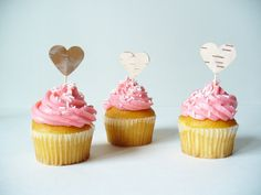 Rustic Cupcake Topper Hearts  Birch Bark  by jadenrainspired