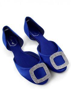 Diamond Metal Toe Blue Velvet Ballet Flats