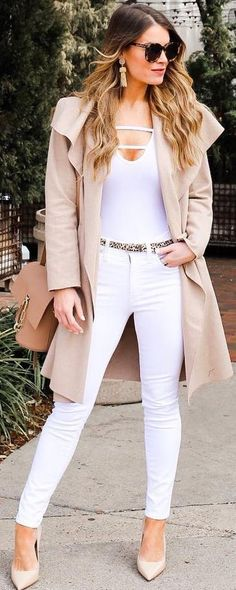 #spring #outfits white top, white jeans, heels, beige coat
