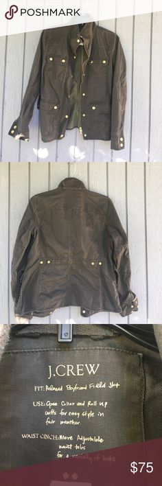 Jcrew Utility Jacket Size Xsmall Preowned but in good condition. Some fading and gold Button also has color discoloration. Dark green color. Size Xsmall. Factory Outlet Jacket. Jcrew Jackets & Coats Utility Jackets