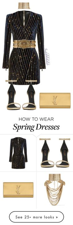 """Untitled #533"" by styledbyjovon on Polyvore featuring moda, Balmain, Yves Saint Laurent e Rosantica"