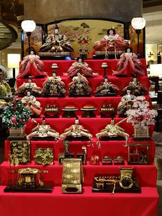 "Hina doll display - Hina-matsuri Japan For Girl's Day. We know its ""bad luck"" but ours is displayed all the time. In a row not stepped like this"