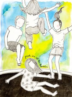 Push me off the trampoline. Art Drawings For Kids, Drawing For Kids, Painting For Kids, Kids Art Class, Art For Kids, Watercolor Illustration, Watercolor Art, Projects For Kids, Art Projects