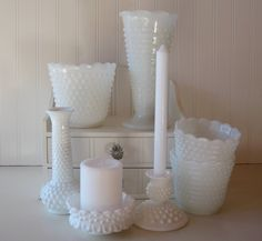 wedding reception centerpiece, hobnail milk glass collection, tablesetting, wedding decor, shabby chic. $79.00, via Etsy.