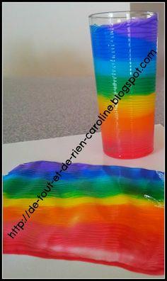 De tout et de rien: Activités pour le Préscolaire: Painting rainbows with a rolling glass - Peinturer en roulant un verre dans la peinture