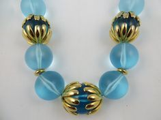 Signed Napier Statement Necklace Big Aqua Ball by LadyandLibrarian, $124.00
