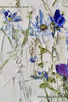 20 Trendy Dining Room Wall Colors to Transform Your Space Flower Painting Canvas, Abstract Flowers, Texture Painting, Flower Art, Blue Flowers, Abstract Paintings, Art Paintings, Painting Art, Landscape Paintings