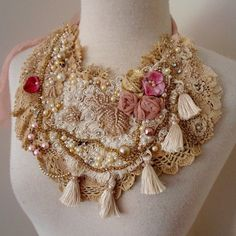 RESERVED FOR DEB vintage lace beaded necklace boho by RawHemline