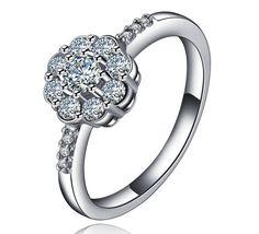 0.9 ctw Lotus Flower Engagement Ring Romantic Engagement
