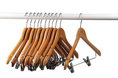 Home-it (20 Pack) Natural wood Solid Wood Clothes Hangers, Coat Hanger Wooden Hangers with clips Review