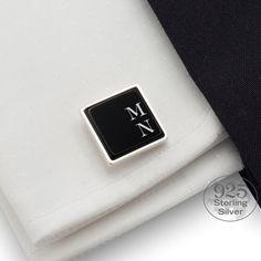 Herrenschmuck - Initialen Manschettenknöpfe | Onyx - ein Designerstück von ZaNa-Design bei DaWanda