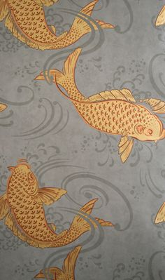 Osborne & Little - DERWENT  Ornamental koi carp in a swirling pool, named after the forest and River Derwent in west Cumbria (formerly Cumberland).  PRODUCT TYPE  Wallpaper; washable.