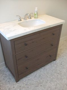 IKEA Hackers: Vanity from HEMNES Dresser. Super bargain compared to most ready-made console sinks AND better construction.  Sturdy wood holds marble or granite. Versatile styling modern or traditional.