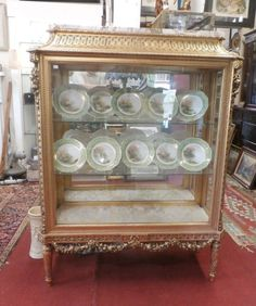 Antique French Louis XVI  Gold Display Cabinet Vitrine Marble Top Glass 3 Sides  #LouisXVI