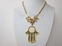 Gold Hamsa Hand Necklace. Big Black and Gold Hamsa Pendant. Islamic Hand Necklace. Middle Eastern Hamsa Necklace. Pearl Swarovski Necklace
