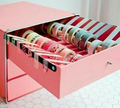 excellent storage ideas for your craft room DIY Washi Tape Drawers - Awesome DIY Craft Room Organization Ideas To Steal Right Now!DIY Washi Tape Drawers - Awesome DIY Craft Room Organization Ideas To Steal Right Now! Craft Room Storage, Craft Room Desk, Craft Organization, Stationary Organization, Diy Stationary Storage Ideas, Craft Rooms, Organizing Ideas, Craftroom Storage Ideas, Scrapbook Room Organization