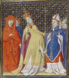 Bibliothèque nationale de France, Français 598, detail of f. 151r (Pope Joan giving birth). Boccaccio. De mulieribus claris. Paris, 1403.