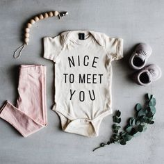 Newborn Baby Girl Coming Home Outfit 'Nice To Meet You' Baby Onesie | TheOystersPearl on Etsy