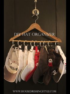 DIY hat organizer- I need to do this for Ryan's baseball hat collection!