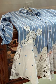 Create a new favorite shirt using old lace, linens and some of those doilies we have stuffed in trunks and drawers ! Wow !! Repurpose. Craft. Recycle. Denim. Shabby and chic !