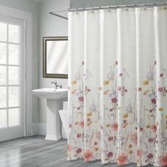 Pressed Flowers Shower Curtain   Croscill    #floral #watercolor #spring #white #croscill