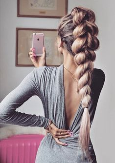 45 Spring Cute Braids Ponytail Hairstyles To Change Your Look, HAİR STYLE, ponytails hairstyles to change your look; lovely low ponytail hairstyles to try; elegant ponytails for your special day; Rose Blonde Hair, Brunette Hair, Elegant Ponytail, Elegant Updo, Braided Ponytail Hairstyles, Braid Ponytail, Box Braid, Mohawk Braid, Beehive Hairstyle