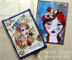 Renee Zarate created two girl-themed cards with a positive sentiment and a focal point of flowers in each of the girl's hair. Fireworks Shimmery Craft Spray, On Point Glue, Memento ink, blue, pink, black shimmer, paper flowers, glitter, glass beads, red hair.