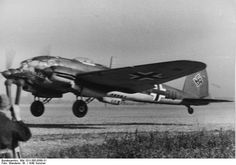 German He 111 bomber of Kampfgeschwader 1 taking off, France, summer 1940