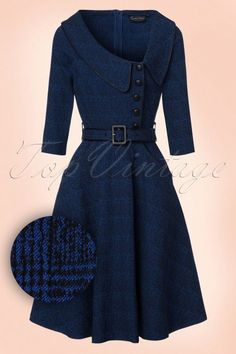 Lilly Swing Dress in Dark Blue Vixen Lilly Blue Swing Kleid 102 30 19433 20161004 Day Dresses, Dress Outfits, Fashion Dresses, Cute Outfits, Office Dresses, 1940s Fashion, Vintage Fashion, Lolita Fashion, Vintage Dresses