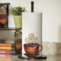 Coffee Paper Towel Holder from Seventh Avenue ® Coffee Theme Kitchen, Coffee Bar Home, Just Love Coffee, Coffee Clock, Cocoa Tea, Coffee Illustration, Kitchen Decor Themes, Paper Towel Holder, Kitchen Organization