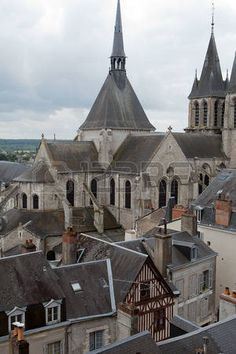 Roof of St-Nicolas Church  in Blois . Loire Valley, France photo