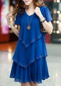 Royal Blue Short Sleeve Tiered Chiffon Dress