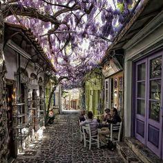 Beautiful cafe setting in Greece