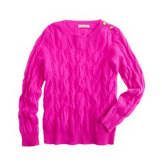 Girls' gold-button cable sweater