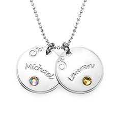 Mothers Day Jewelry – Engraved Birthstone Discs | MyNameNecklace