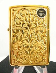 Carved Floral Gold Plated ZIppo Lighter