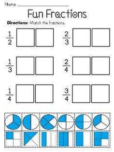Fractions - this is a hands-on cut and paste fractions worksheet to help your students practice halves, thirds, and fourths. Answer key now included! For more fractions practice, check out: Equal Parts or Unequal Parts Cut and Paste Worksheets Half or Fourth Cut and Paste Sorts Fractions Worksheets Fractions Differentiated Books