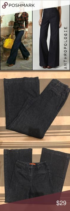"""Anthropologie Cartonnier Wide-Legs Sailor Trouser Wide wide Leg pant jeans with slimming flat front waist  ⏬description continues below  *Condition: gently worn no major flaws or issues   *Size:  6  *Material: 97% cotton 3% ris  *Approx Measurements: LENGTH 43.5"""" INSEAM 32"""" RISE 11.5"""" WAIST 28"""" PANT LEG WIDTH 13.5""""  🛍Shop with confidence ⭐️️⭐️️⭐️️⭐️️⭐️️Rating  ◽️SUGGESTED USER  📫FAST SHIPPING  💵BUNDLE DEALS JUST ASK ✅OUT CLEARANCE SECTION DEALS 🚭SMOKE FREE HOME 🚫TRADES Anthropologie…"""