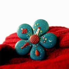 Starry Night Unique hand made polymer clay brooch by EvaThissen, $32.00