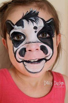 Daizy Design from nz cow face painting ideas for kids Animal Face Paintings, Animal Faces, Cow Face Paints, Face Painting Tutorials, Easy Face Painting Designs, Kids Makeup, Maquillage Halloween, Facepaint Halloween, Halloween Painting