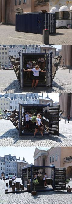 Container restaurant in Denmark. The beauty and portability of a true pop-up restaurant! PopUp Republic www. Container Architecture, Container Buildings, Container Design, Container Shop, Coffee Container, Restaurant Bar, Restaurant Interior Design, Pop Up Bar, Casas Containers