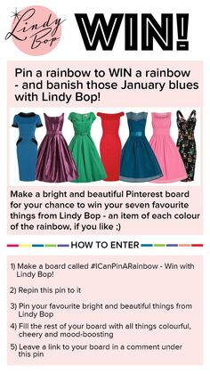 View bright and beautiful dresses at Lindy Bop: http://www.lindybop.co.uk/blue-monday-t242  Ends 31st Jan.  Make sure you're following Lindy Bop! T's & C's: https://secure.pagemodo.com/m/WQ2L9N  #ICanPinARainbow #pintowin #repintowin #competition
