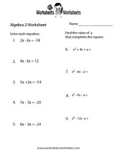 Algebra 2 worksheets high school