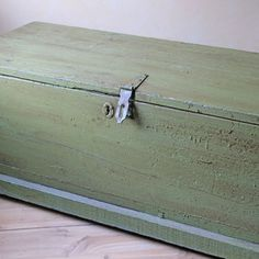 Antique Wood Chest Green now featured on Fab.