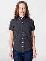 Unisex Italian Cotton Short Sleeve Button-Down wiith Pocket