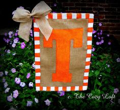 UT Go Vols Tennessee Burlap Garden Flag Volunteers, with a bow, too! :)