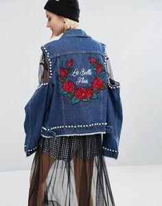 STYLENANDA – Jeansjacke mit Schulterausschnitten und Aufnähern